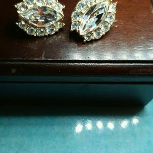 Trifari Signed Gold/Goldtone Rhinestone Earrings